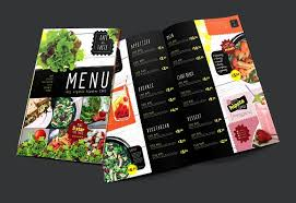 flyer menu template folding a3 salad menu template flyer templates creative market