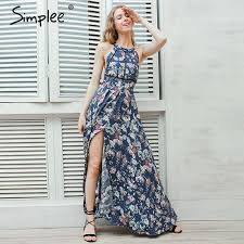 Simplee Halter backless summer dress women Christmas floral beach