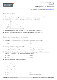 class 7 math worksheets and problems triangle and its properties