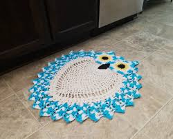 2 tone hand crocheted aqua blue owl rug