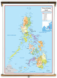 Philippine Map Philippines Political Educational Wall Map From Academia Maps