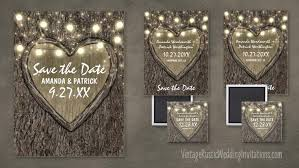 Rustic Save The Date Magnets Oak Tree Save The Date Cards Vintage Rustic Wedding Invitations