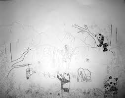 all kids murals asian jungle forest mural sketch with bamboo