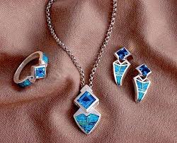 opal earring necklace set images Blue topaz and opal ring pendant earring set jewelry sets jpg