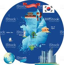 Map Of World Korea by Cartoon Map Of South Korea Stock Vector Art 482488846 Istock