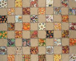 handmade rag quilt thanksgiving prints wheat espresso brown 40x50