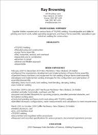 exles of really resumes welding resumes exles professional tig welder templates to