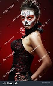 halloween stock footage halloween make sugar skull beautiful model stock photo 160936448