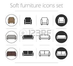 soft furnishing icons set chair sofa couch color silhouette