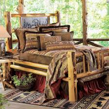 rustic bedroom interior design ideas with rustic log bed frame