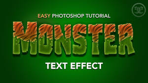 easy photoshop tutorial monster text effect youtube
