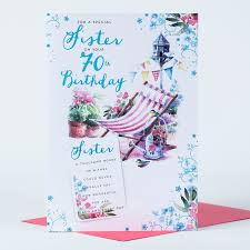 70th Birthday Cards 70th Birthday Card Sister Deck Chair Only 1 49