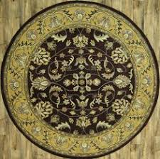 Brown Round Rugs Hand Tufted Classic Floral Brown Round 8x8 Kashan Agra Oriental