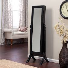 Black Armoire Modern Jewelry Armoire Cheval Mirror High Gloss Black Hayneedle