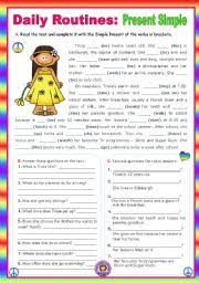 english worksheet daily routines present simple context a