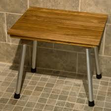 accessories awesome shower bench with wood seat and steel legs