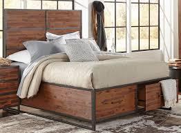 Contemporary Rustic Bedroom Furniture Warm Brown U0026 Metal Modern Rustic 6 Piece Queen Bedroom Set