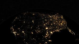 World At Night Map by Space Sunrise Over Usa North America Earth From Space Clip