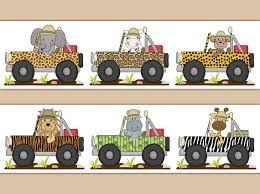 safari nursery decor jeep animals wallpaper border wall art