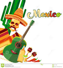 cartoon tequila skeleton wear mexican traditional sombrero clothes with guitar
