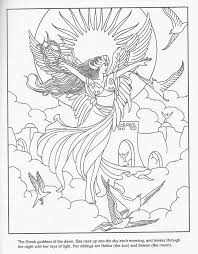 eos greek sky goddess challenging coloring pages for adults free