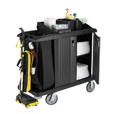 House Keeping by Rubbermaid Fg619200bla Classic Compact Housekeeping Cart With Doors
