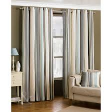 Raw Silk Drapery Panels by Ready Made Striped Eyelet Curtains Lined Cream Grey Duck Egg