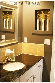 remodelaholic bathroom makeover yellow u0026 gray color scheme