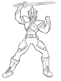 power rangers lift up a sword and ready to fight coloring pages