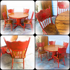 country kitchen table red oak table and chair set large