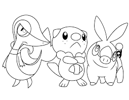 pokemon coloring pages of snivy oshawott coloring pages