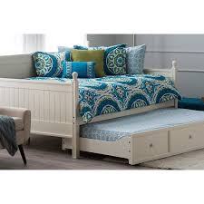 furniture white wood frame queen daybed with pull out trundle for