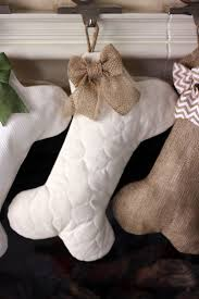 quilted dog bone christmas stocking with optional bow pet