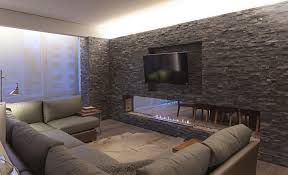 Wall Tv Design by Awesome Design Of An Exposed Natural Stone Wall Panel With Stylish
