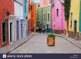 Painted Houses Mexico Bajio Guanajuato Paved Street Lined By Colourfully