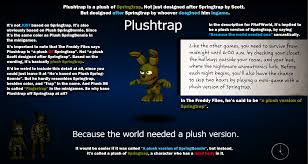 plushtrap was designed after springtrap by someone ingame imgur