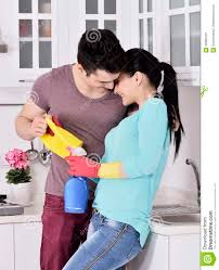happiness couple after cleaning the house stock photo image