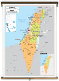 political map of israel israel political educational wall map from academia maps