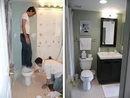bathroom white mirror sink stainless shelves dark brown wood
