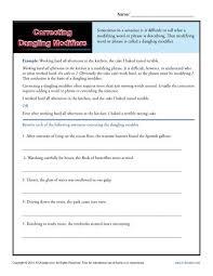 correcting dangling modifiers word usage worksheet