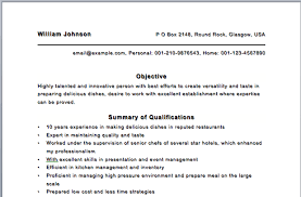 Objective Of Resume Sample by Sample Resume Template Chef Objective Examples Sous Free Jobs