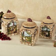 italian style kitchen canisters tuscan view wine grapes kitchen canister set for the home