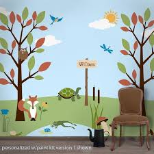 Forest Friends Wall Stencils For Kids Rooms - Mural kids room