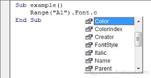 vba course colors