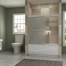 shower frameless sliding bathtub tempered frosted glass Bathtubs With Glass Shower Doors