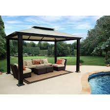 Mainstays Gazebo Replacement Parts by Stc Santa Monica Gazebo With Hard Top Roof Walmart Com