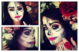 Halloween Makeup Dia De Los Muertos Sugar Skull Half Face Makeup Hair And Easy Youtube