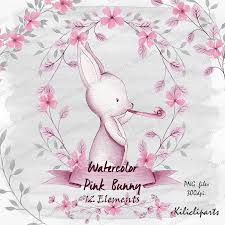 watercolor pink bunny woodland pink rabbit baby shower