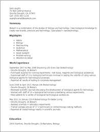 Biology Resume Examples by Professional Biotech Templates To Showcase Your Talent