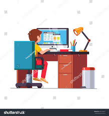 Kids Office Desk by Student Boy Sitting Home Office Desk Stock Vector 687472963